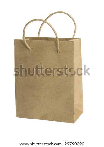 brown shopping bag isolated on white background - stock photo