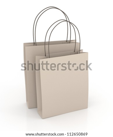 Brown Shopping Bags - Isolated on White Background