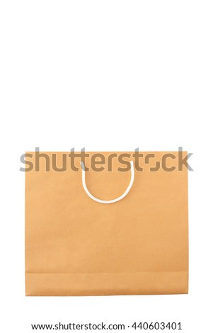 Brown shopping craft paper bag on white background - stock photo