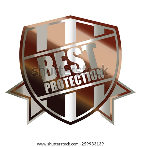 brown silver metallic best protection shield, sticker, sign, stamp, icon, label isolated on white - stock photo
