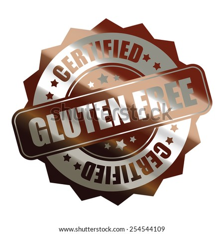 brown silver metallic gluten free certified sticker, banner, sign, icon, label isolated on white - stock photo