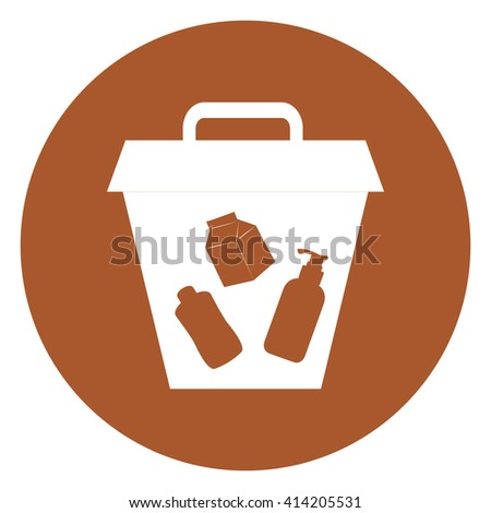 Brown Simple Circle Litter Bin Infographics Flat Icon, Sign Isolated on White Background - stock photo