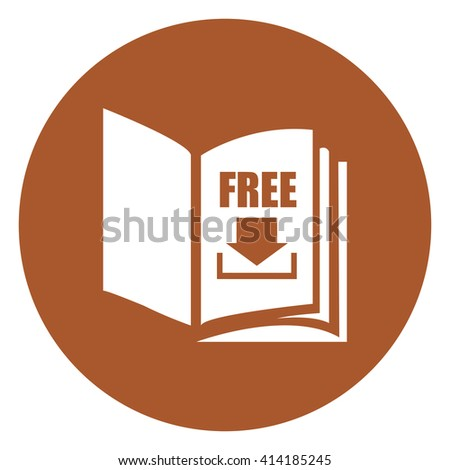 Brown Simple Circle Open Book With Free Download Infographics Flat Icon, Sign Isolated on White Background - stock photo