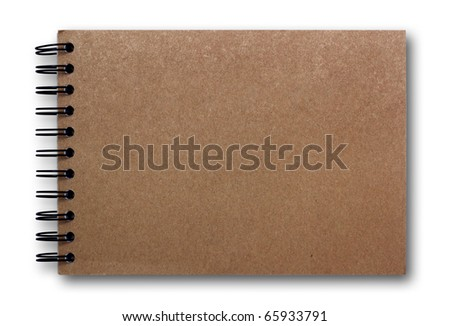 brown sketch book isolated on white background - stock photo