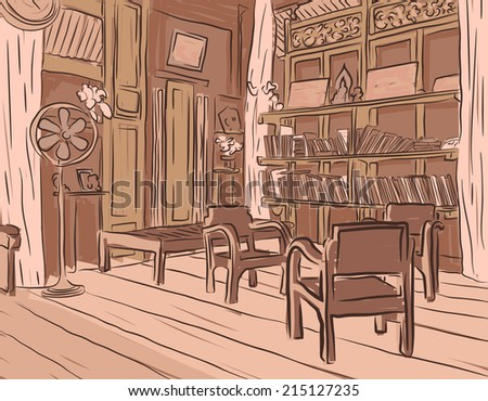 Brown sketch of an olden reading room or living room with wooden furniture - stock photo