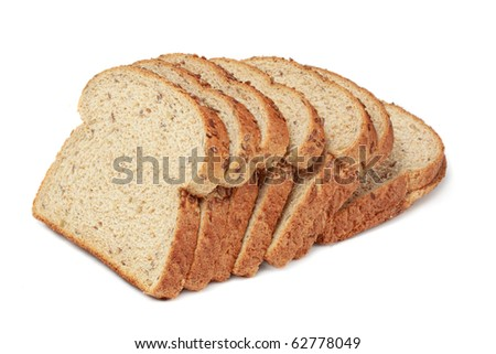 brown sliced bread isolated on white - stock photo