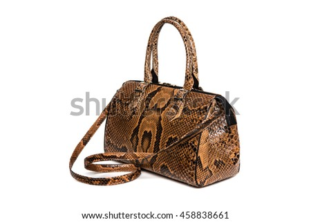 Brown snake leather handbag. Isolated on white