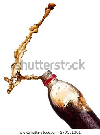 Brown soda water up from a plastic bottle - stock photo