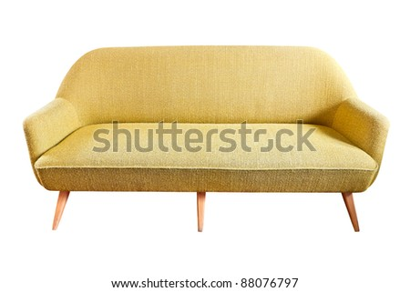 brown sofa isolated with clipping path - stock photo