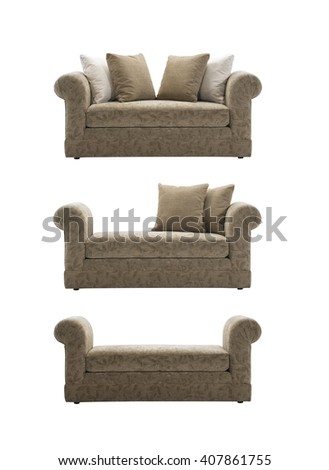 Brown sofa no backrest, isolated with clipping mask.  - stock photo