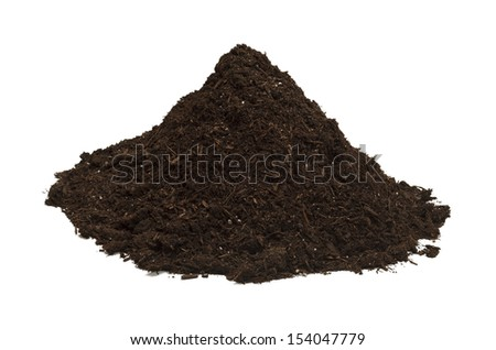 Brown Soil in a Dirt Mound Isolated on White Background.