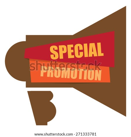 Brown Special Promotion Megaphone Banner, Sign, Label or Icon Isolated on White Background - stock photo