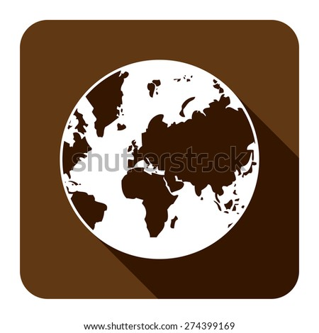 Brown Square Earth Planet Flat Long Shadow Style Icon, Label, Sticker, Sign or Banner Isolated on White Background - stock photo