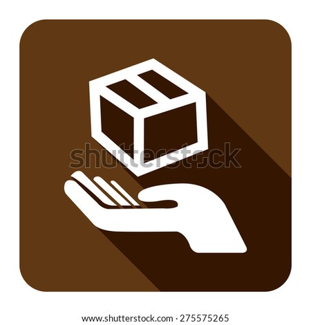 Brown Square Hand With Box, Handle With Care, Do Not Drop Flat Long Shadow Style Icon, Label, Sticker, Sign or Banner Isolated on White Background - stock photo