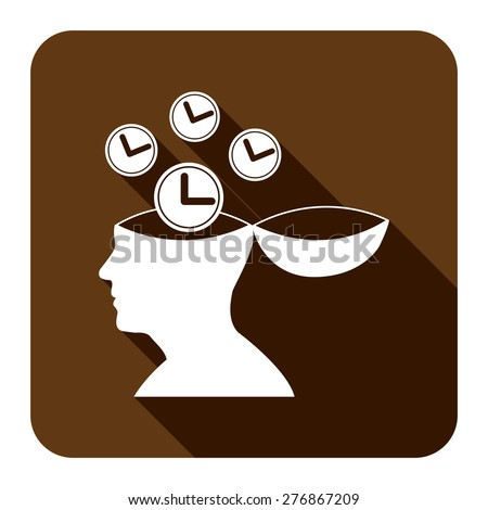 Brown Square Head With Clock, Time Saving, Time Management Flat Long Shadow Style Icon, Label, Sticker, Sign or Banner Isolated on White Background - stock photo