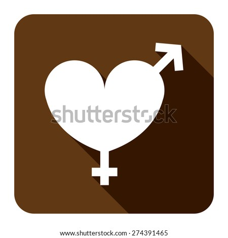 Brown Square Heart With Male and Female Sign Flat Long Shadow Style Icon, Label, Sticker, Sign or Banner Isolated on White Background - stock photo
