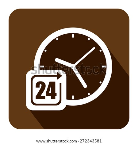 Brown Square 24 Hours Service, Open 24 Hours Long Shadow Style Icon, Label, Sticker, Sign or Banner Isolated on White Background - stock photo