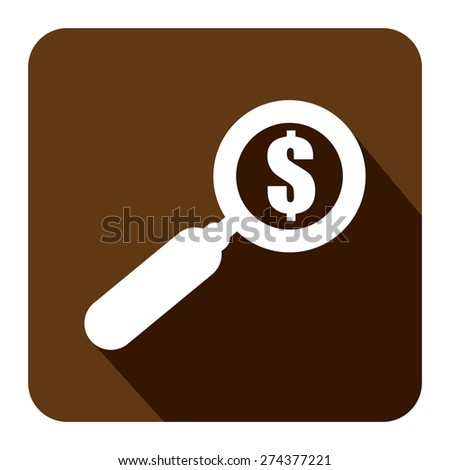 Brown Square Magnifying Glass With Dollar Sign Flat Long Shadow Style Icon, Label, Sticker, Sign or Banner Isolated on White Background - stock photo