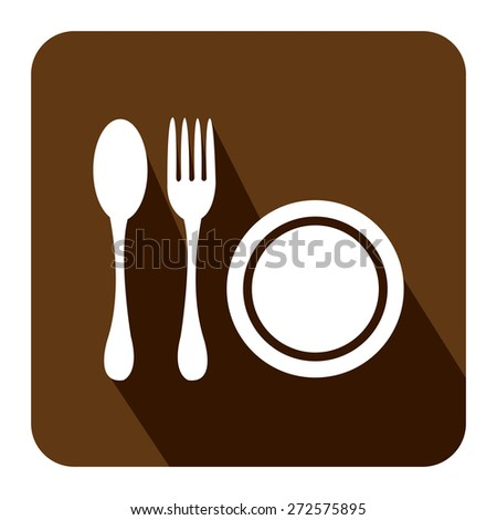 Brown Square Restaurant, Bistro, Cafeteria or Food Center Long Shadow Style Icon, Label, Sticker, Sign or Banner Isolated on White Background - stock photo
