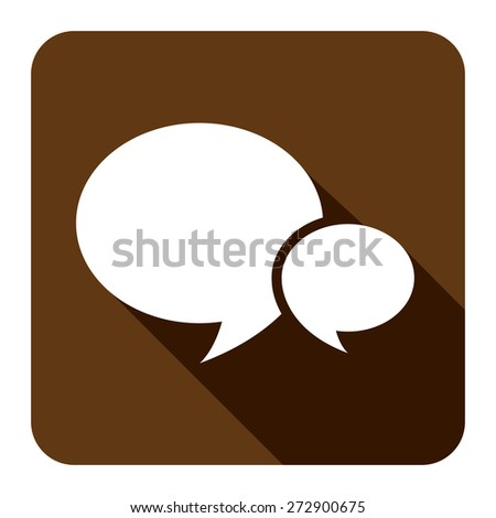 Brown Square Speech Bubble Long Shadow Style Icon, Label, Sticker, Sign or Banner Isolated on White Background - stock photo