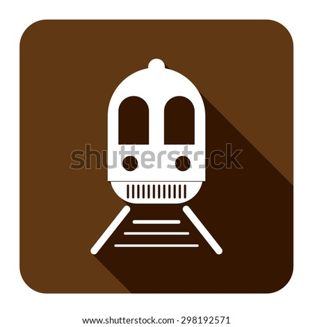 Brown Square Train, Subway Station or Railway Station Flat Long Shadow Style Icon, Label, Sticker, Sign or Banner Isolated on White Background - stock photo