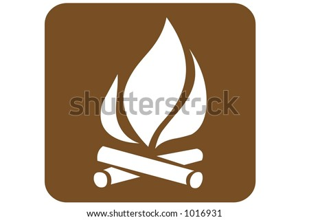 Brown Square US Parks And Recreation Sign containing the international symbol for a camp fire isolated on a white background. - stock photo