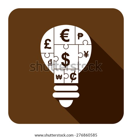 Brown Square Various Currency Sign Puzzle in Light Bulb Flat Long Shadow Style Icon, Label, Sticker, Sign or Banner Isolated on White Background - stock photo