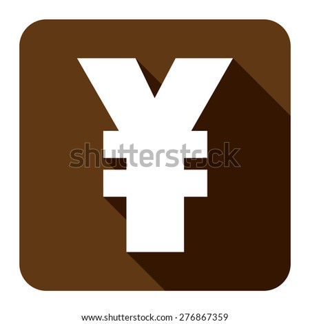 Brown Square Yuan, Yen Currency Flat Long Shadow Style Icon, Label, Sticker, Sign or Banner Isolated on White Background - stock photo