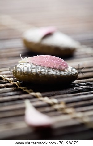Brown stones with water drops and flower petals - stock photo