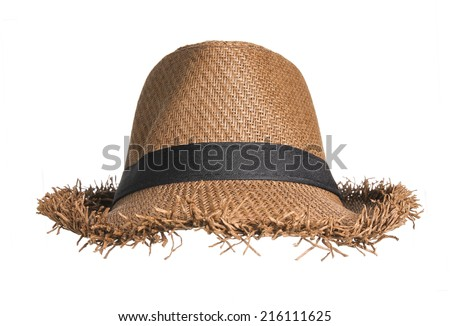 Brown straw hat isolated on white background. - stock photo