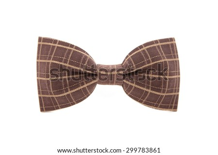Brown striped men's bow tie isolated on white background - stock photo