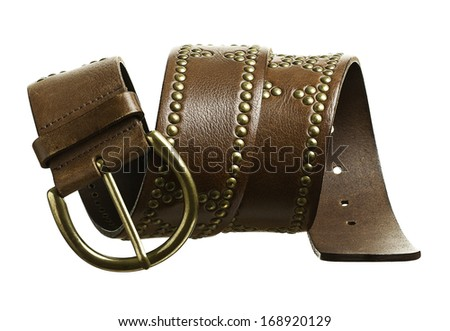 Brown studded leather belt with buckle isolated on white background. - stock photo