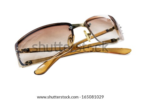 Brown stylish sunglasses isolated over white