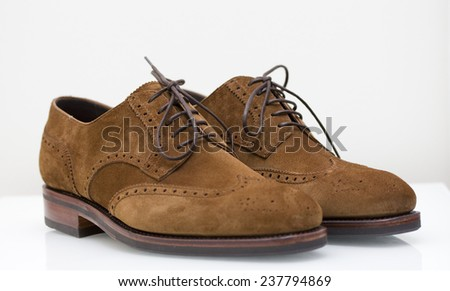 brown suede derby wingtip brogue shoes - stock photo