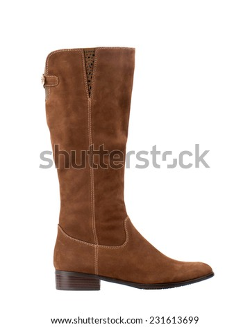 Brown suede knee high boot isolated on white background.