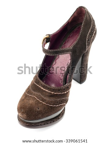Brown suede shoe isolated on white background.Top view. - stock photo