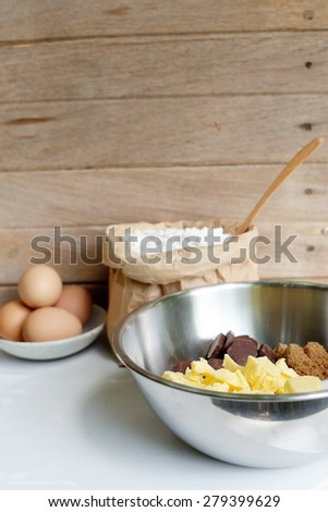 brown sugar ,caster sugar, butter, chocolate in bowl prepare for melt, brownies ingredient.  - stock photo