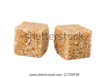 brown sugar cubes isolated - stock photo