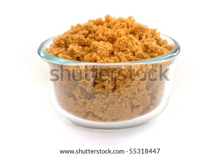 Brown Sugar in a Glass Bowl Isolated on White - stock photo