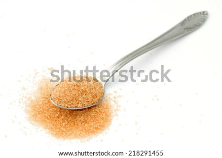 brown sugar in a spoon on white background