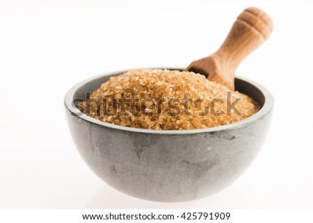 brown sugar isolated on a white background - stock photo