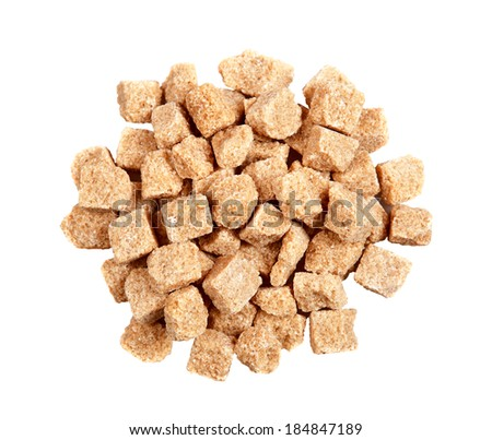 Brown sugar on a white background