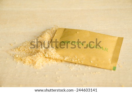 Brown sugar packaging For Coffee - stock photo
