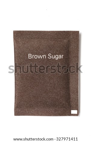 Brown sugar packet on white background