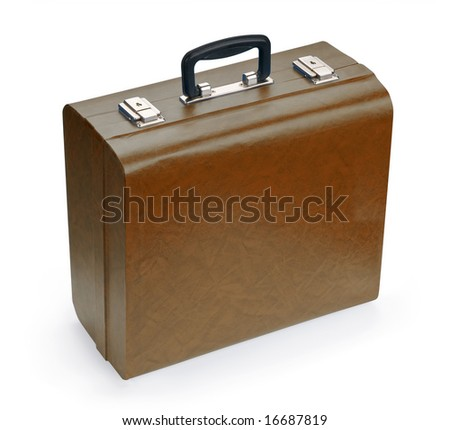 Brown suitcase, isolated on white background