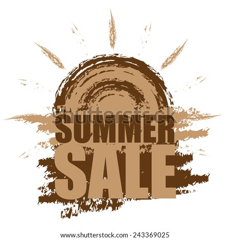 Brown Summer Sale Banner, Sticker, Icon or Label Isolated on White Background  - stock photo