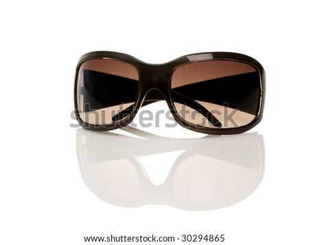 Brown sunglasses on white - stock photo
