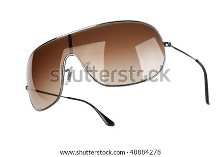 brown sunglasses on white background - stock photo