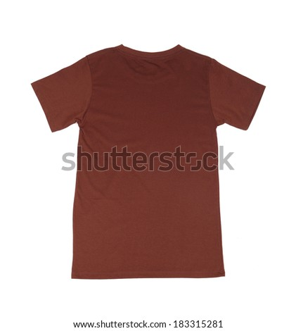brown t-shirt template (back side) on white background