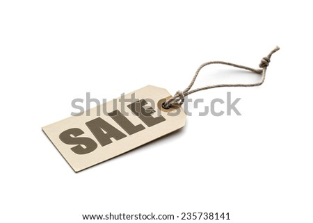 """Brown tag lettering """"sale"""" isolated on white background - stock photo"""